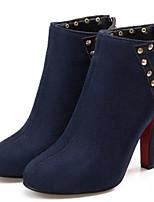Недорогие -Жен. Fashion Boots Замша Наступила зима Ботинки На толстом каблуке Круглый носок Ботинки Заклепки Черный / Красный / Синий