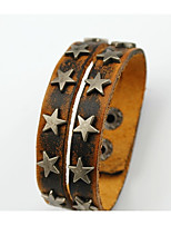 cheap -Men's Layered / Vintage Style Vintage Bracelet / Leather Bracelet - Leather Star Stylish, Vintage, Ethnic Bracelet Brown For Daily / Street
