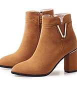 Недорогие -Жен. Fashion Boots Замша Осень Ботинки На толстом каблуке Закрытый мыс Ботинки Черный / Коричневый