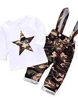 Недорогие -Дети Мальчики С принтом / Контрастных цветов С короткими рукавами / Длинный рукав Набор одежды