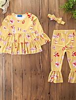 Недорогие -малыш Девочки С принтом Длинный рукав Набор одежды