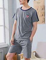 abordables -Col Arrondi Costumes Pyjamas Homme Géométrique