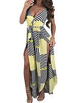 cheap -women's jumpsuit - striped wide leg deep v