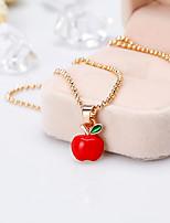 abordables -Femme Chaîne unique Pendentif de collier - pomme Elégant, Européen Rouge 42+5 cm Colliers Tendance Bijoux 1pc Pour Noël, Quotidien