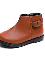 Недорогие -Девочки Обувь Полиуретан Наступила зима Ботильоны Ботинки для Дети Черный / Коричневый