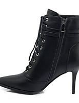 Недорогие -Жен. Ботильоны Наппа Leather Осень Обувь на каблуках На шпильке Заостренный носок Ботинки Цветы из сатина Черный / Бежевый