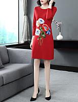 Недорогие -Жен. Винтаж / Изысканный Прямое Платье - Цветочный принт, Вышивка Выше колена Роуз
