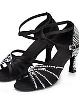 baratos -Mulheres Sapatos de Dança Latina Cetim Salto Gliter com Brilho / Presilha / Detalhes em Cristal Salto Carretel Personalizável Sapatos de Dança Preto