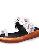 Недорогие -Жен. Комфортная обувь Наппа Leather Весна Тапочки и Шлепанцы На плоской подошве Белый / Лиловый / Зеленый