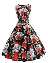 baratos -Mulheres Elegante balanço Vestido - Estampado, Floral Acima do Joelho