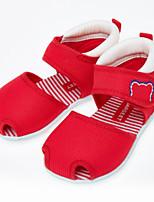 Недорогие -Девочки Обувь Полотно Лето Удобная обувь Сандалии На липучках для Дети Красный / Синий / Розовый