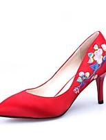 Недорогие -Жен. Балетки Сатин Осень Обувь на каблуках На шпильке Красный / Свадьба / Для вечеринки / ужина