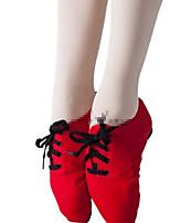 abordables -Femme Chaussures de Ballet Daim Basket Talon Plat Chaussures de danse Noir / Rouge