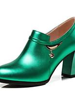 Недорогие -Жен. Fashion Boots Наппа Leather Зима Ботинки На толстом каблуке Закрытый мыс Ботинки Серебряный / Зеленый