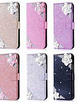 Недорогие -Кейс для Назначение Apple iPhone XR / iPhone XS Max Кошелек / Бумажник для карт / Стразы Чехол Сияние и блеск / Стразы / Цветы Твердый Кожа PU для iPhone XS / iPhone XR / iPhone XS Max