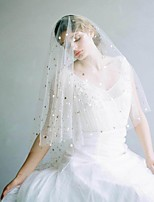 Недорогие -Один слой Старинный / Классический Свадебные вуали Фата до кончиков пальцев с Однотонные / Пайетки Тюль