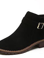 Недорогие -Жен. Ботильоны Полиуретан Осень Ботинки На низком каблуке Круглый носок Ботинки Черный / Бежевый