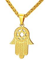 Недорогие -Муж. Ожерелья с подвесками - Нержавеющая сталь руки Мода Золотой, Серебряный 55 cm Ожерелье Бижутерия 1шт Назначение Подарок, Повседневные