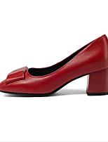 Недорогие -Жен. Комфортная обувь Наппа Leather / Полиуретан Весна Обувь на каблуках На толстом каблуке Черный / Красный