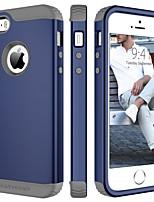 Недорогие -Кейс для Назначение Apple Кейс для iPhone 5 Защита от удара Чехол Однотонный Твердый ТПУ / ПК для iPhone SE / 5s / iPhone 5