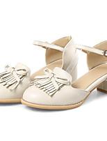 Недорогие -Жен. Балетки Полиуретан Весна Обувь на каблуках На толстом каблуке Черный / Миндальный / Вино