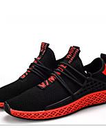 Недорогие -Муж. Комфортная обувь Сетка Весна & осень На каждый день Кеды Черно-белый / Черный / Красный