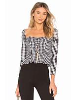 Недорогие -Жен. Блуза С открытыми плечами Шахматка