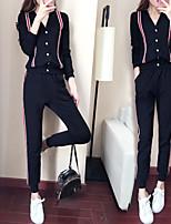 preiswerte -Damen V-Ausschnitt Tasche 2pcs Trainingsanzug - Weiß, Schwarz Sport Einfarbig Oberteile / Unten Laufen, Fitness, Trainieren Langarm Sportkleidung Rasche Trocknung, Atmungsaktiv, Weich Mikro-elastisch