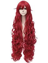 Недорогие -Wig Accessories Кудрявый Стрижка каскад Искусственные волосы 40 дюймовый Аниме / Косплей Красный Парик Жен. Очень длинный Без шапочки-основы Красный