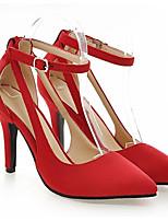 baratos -Mulheres Stiletto Couro Ecológico Primavera Saltos Salto Agulha Preto / Vermelho