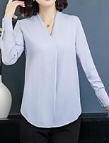 baratos -Mulheres Blusa - Para Noite Sólido Decote V Delgado