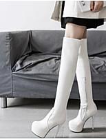 Недорогие -Жен. Fashion Boots Синтетика Осень Ботинки На шпильке Сапоги выше колена Белый / Черный / Кофейный