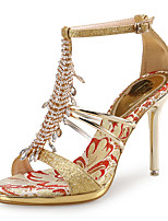 cheap -Women's Sandals Spring Fall Pumps Open Toe Party & Evening Office & Career Rhinestone Crystal Synthetics Gold / Silver