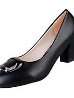 Недорогие -Жен. Балетки Полиуретан Осень На каждый день Обувь на каблуках На толстом каблуке Стразы Черный / Бежевый / Винный / Повседневные