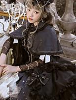 economico -Gotico Vintage Gotico Chiffon Pizzo Per femmina Vestiti Cosplay Nero A sbuffo Manica lunga Midi Costumi Halloween