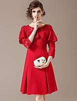 Недорогие -Жен. Шинуазери (китайский стиль) Оболочка Платье Аппликация Выше колена