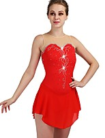 cheap -Figure Skating Dress Women's / Girls' Ice Skating Dress Red High Elasticity Performance / Practise Skating Wear Quick Dry, Anatomic Design Classic / Sexy Sleeveless Ice Skating / Outdoor Exercise
