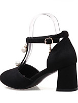 abordables -Femme Chaussures de confort Polyuréthane Eté Chaussures à Talons Block Heel Noir / Gris / Amande