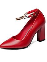 abordables -Femme Escarpins Cuir Nappa Automne Chaussures à Talons Talon Bottier Noir / Rouge / Amande