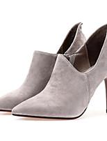 Недорогие -Жен. Fashion Boots Замша Осень Ботинки На шпильке Закрытый мыс Ботинки Черный / Серый