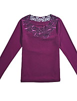 baratos -Mulheres Blusa Básico Com Transparência, Sólido