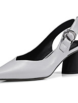 baratos -Mulheres Sapatos Confortáveis Pele Napa Verão Saltos Salto Robusto Cinzento