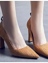 abordables -Femme Chaussures de confort Daim Printemps & Automne Chaussures à Talons Talon Bottier Noir / Kaki