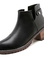 Недорогие -Жен. Комфортная обувь Полиуретан Осень На каждый день Ботинки На низком каблуке Круглый носок Ботинки Черный / Военно-зеленный / Темно-коричневый