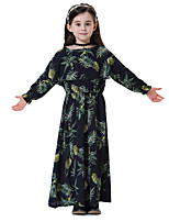 cheap -Kids Girls' Boho Floral Long Sleeve Maxi Dress