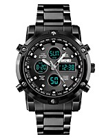 cheap -SKMEI Men's Couple's Sport Watch Dress Watch Quartz 30 m Water Resistant / Water Proof Three Time Zones Cool Stainless Steel Band Analog Luxury Fashion Black / Silver - Silver Blue Silver / Black