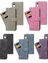 Недорогие -Кейс для Назначение Apple iPhone XS / iPhone XS Max Кошелек / Бумажник для карт / со стендом Чехол Однотонный Твердый Кожа PU для iPhone XS / iPhone XR / iPhone XS Max