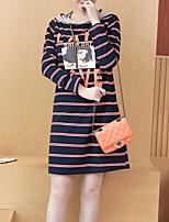 preiswerte -Damen Grundlegend A-Linie Kleid - Patchwork / Druck, Gestreift / Einfarbig Knielang