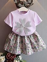 Недорогие -Дети / Дети (1-4 лет) Девочки Однотонный / Цветочный принт С короткими рукавами Набор одежды