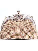 baratos -Mulheres Bolsas Liga Bolsa de Festa Botões / Detalhes em Cristal Côr Sólida Dourado / Prata